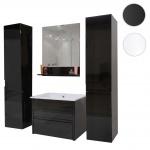 Badezimmerset XL HWC-B19, Waschtisch Wandspiegel 2x Hängeschrank, hochglanz