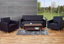 3-1-1 Sofagarnitur Kunda, Couch Loungesofa Kunstleder, Metall-Füße