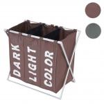 Wäschesammler HWC-C36, Laundry Wäschesortierer Wäschekorb, 3 Fächer klappbar 59x62x37cm 135l