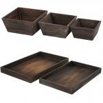 Holzschalen Set, 3x Obstschale T284, 2x Serviertablett T285, Shabby-Look