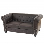 Luxus 2er Sofa Chesterfield Kunstleder