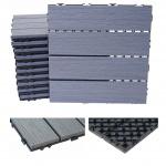 WPC Bodenfliese HWC-E21, Holzoptik Balkon/Terrasse, 3D-Struktur linear beschichtet-grau