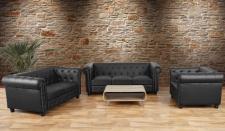 Luxus 3-2-1 Sofagarnitur Chesterfield Kunstleder