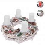 Adventskranz rund, Weihnachtsdeko Tischkranz, Holz Ø 35cm weiß-grau