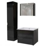 Badezimmerset HWC-B19, Waschtisch Spiegelschrank Hängeschrank, hochglanz schwarz