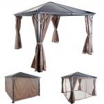 Hardtop Pergola HWC-C74, Garten Pavillon, Kunststoff-Dach Seitenwand + Moskitonetz Alu