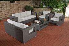 3-2-2 Lounge-Set CP051, Sitzgruppe Gartengarnitur Poly-Rattan