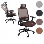 Bürostuhl HWC-A20, Schreibtischstuhl, ergonomisch Kopfstütze Textil ISO9001