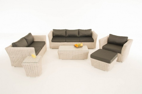 Poly-Rattan Gartengarnitur Sousse, Sofa-Garnitur Lounge-Set