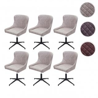 6x Esszimmerstuhl HWC-H79, Lounge-Stuhl Küchenstuhl, höhenverstellbar drehbar Vintage Metall
