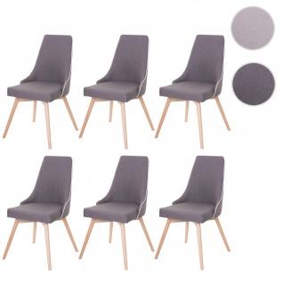 6x Esszimmerstuhl HWC-B44, Stuhl Lehnstuhl, Retro 50er Jahre Design Stoff/Textil