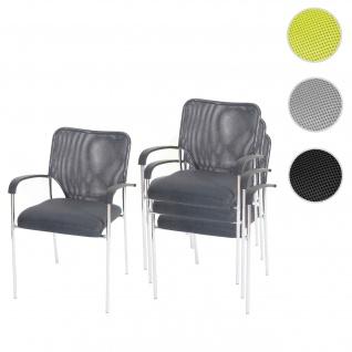 4x Besucherstuhl Tulsa, Konferenzstuhl stapelbar, Stoff/Textil
