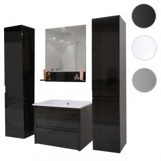 Badezimmerset HWC-B19, Waschtisch Wandspiegel 2x Hängeschrank, hochglanz