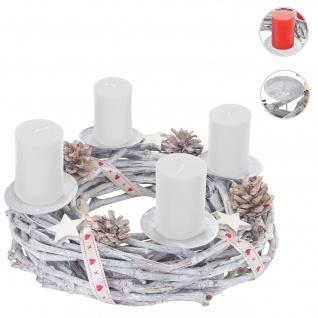 Adventskranz rund, Weihnachtsdeko Tischkranz, Holz Ø 30cm weiß-grau