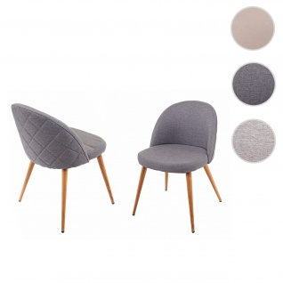 2x Esszimmerstuhl HWC-D53, Stuhl Küchenstuhl, Retro 50er Jahre Design, Stoff/Textil