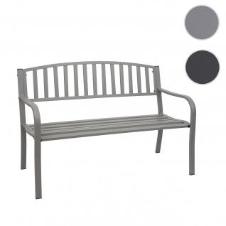 Gartenbank HWC-F43, Bank Parkbank Sitzbank, 2-Sitzer pulverbeschichteter Stahl