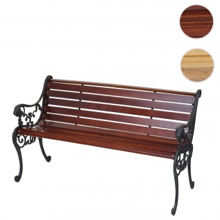 Gartenbank HWC-F98, Sitzbank Parkbank Holzbank, 2-Sitzer Gusseisen Holz 125cm 20kg braun