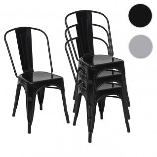4x Stuhl HWC-A73, Bistrostuhl Stapelstuhl, Metall Industriedesign stapelbar