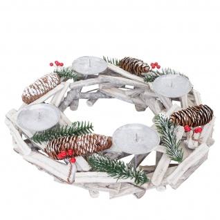 Adventskranz rund, Weihnachtsdeko Tischkranz, Holz Ø 40cm weiß-grau