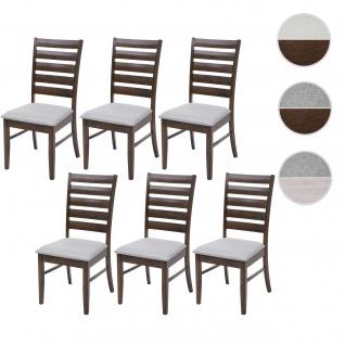 6x Esszimmerstuhl HWC-G47, Küchenstuhl Stuhl, Stoff/Textil Massiv-Holz