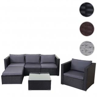 Poly-Rattan-Garnitur Brescia, Gartengarnitur Sitzgruppe Sofa Lounge-Set