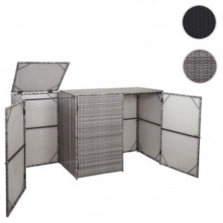 3er-Mülltonnenverkleidung HWC-E25, Mülltonnenbox Mülltonnenabdeckung, Poly-Rattan 3x120l