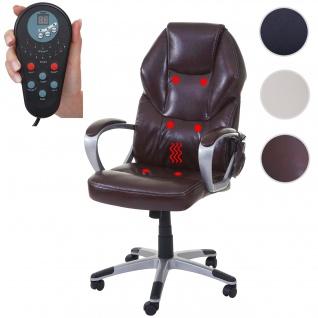 Massage-Bürostuhl HWC-A69, Drehstuhl Chefsessel, Heizfunktion Massagefunktion Kunstleder