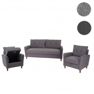 3-1-1 Couchgarnitur HWC-H23, 3er Sofa Sofagarnitur Loungesessel Relaxsessel, Gastronomie Staufach