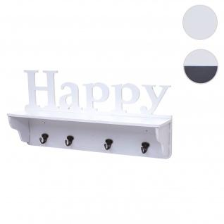 Wandgarderobe HWC-D41 Happy, Garderobe Regal, 4 Haken massiv 30x60x13cm
