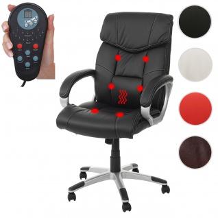 Massage-Bürostuhl HWC-A71, Drehstuhl Chefsessel, Heizfunktion Massagefunktion Kunstleder