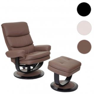Relaxsessel HWC-C16, Fernsehsessel TV-Sessel Hocker mit Staufach, Kunstleder