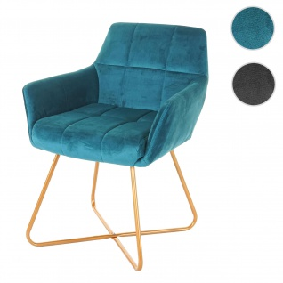 Esszimmerstuhl HWC-F37, Stuhl Küchenstuhl, Retro Design Samt goldene Füße