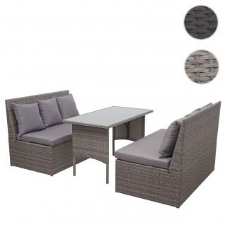 Poly-Rattan Garnitur HWC-G16, Garten-/Lounge-Set Sitzgruppe, Gastronomie 2x2er Sofa Tisch