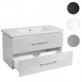 Premium Waschbecken + Unterschrank HWC-D16, Waschbecken Waschtisch, hochglanz 90cm