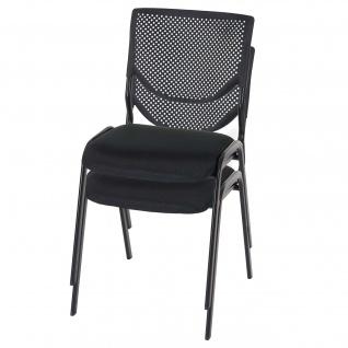 2x Besucherstuhl T401, Konferenzstuhl stapelbar, Stoff/Textil