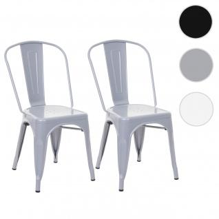 2x Stuhl HWC-A73, Bistrostuhl Stapelstuhl, Metall Industriedesign stapelbar