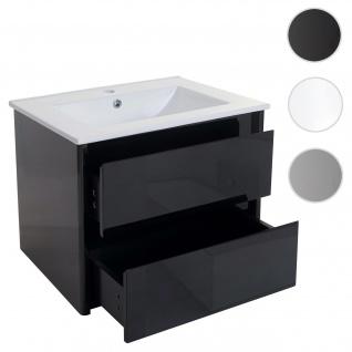 Waschbecken + Unterschrank HWC-B19, Waschbecken Waschtisch Badezimmer, hochglanz 50x60cm