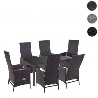 Poly-Rattan-Garnitur HWC-E22, Sitzgarnitur Balkon-Set, 6xStuhl+Gartentisch 160x90cm