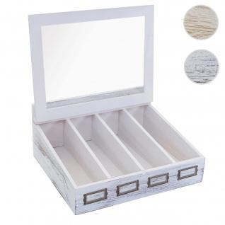 Besteckkiste HWC-C25, Holzbox mit Deckel Besteckkasten, Paulownia 17x37x33cm