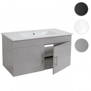 Waschbecken + Unterschrank HWC-D16, Waschbecken Waschtisch, hochglanz 90cm