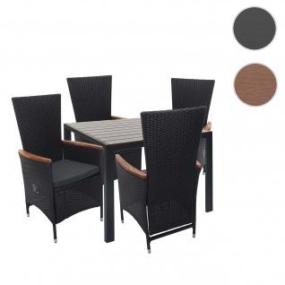 Poly-Rattan Garnitur HWC-F48, Sitzgruppe Balkon-/Garten-/Lounge-Set, verstellbare Lehne Akazie Holz
