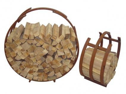 2er Set Brennholz-Stapelregal LD50, Kaminholzregal Feuerholzregal Kaminholzhalter Stapelhilfe, Metall Rund