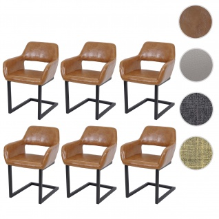 6x Esszimmerstuhl HWC-A50 II, Freischwinger Stuhl Lehnstuhl, Retro 50er Jahre Design