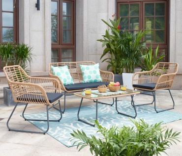 Polyrattan Garnitur HWC-G17b, Gartengarnitur Sofa Set Sitzgruppe, naturfarben