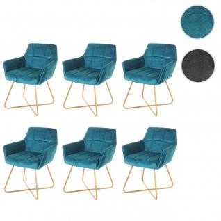 6x Esszimmerstuhl HWC-F37, Stuhl Küchenstuhl, Retro Design Samt goldene Füße
