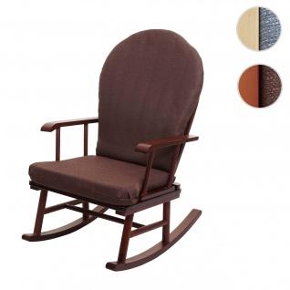 Schaukelstuhl HWC-F95, Schwingstuhl Relaxsessel Schaukelsessel, Massivholz Stoff/Textil
