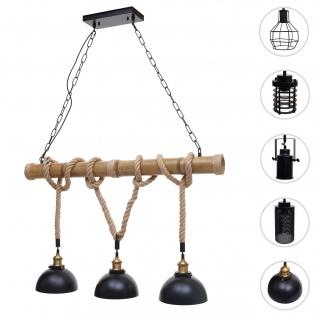 Pendelleuchte HWC-H82, Hängelampe Hängeleuchte, Industrial Vintage Bambus Seil Metall schwarz