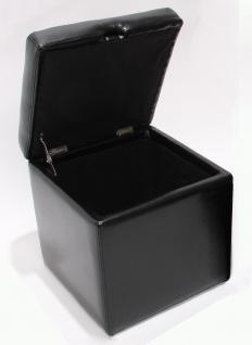 Hocker Sitzwürfel Sitzhocker Aufbewahrungsbox Onex, mit Deckel, Leder + Kunstleder, 45x44x44cm