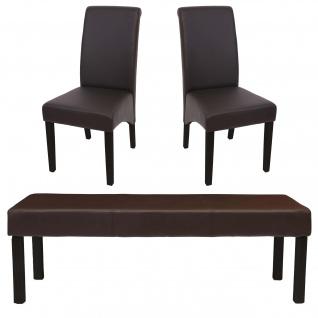 Esszimmergarnitur M37 Tisch 2 Stühle Kunstleder