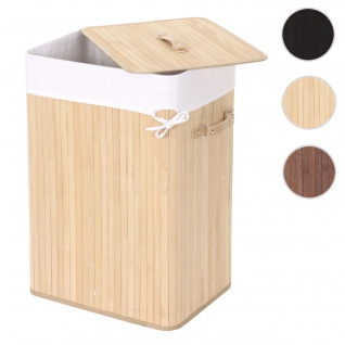 Wäschekorb HWC-C21, Laundry Wäschebox Wäschesammler Wäschebehälter Wäschetonne, Bambus 61x43x32cm 70l